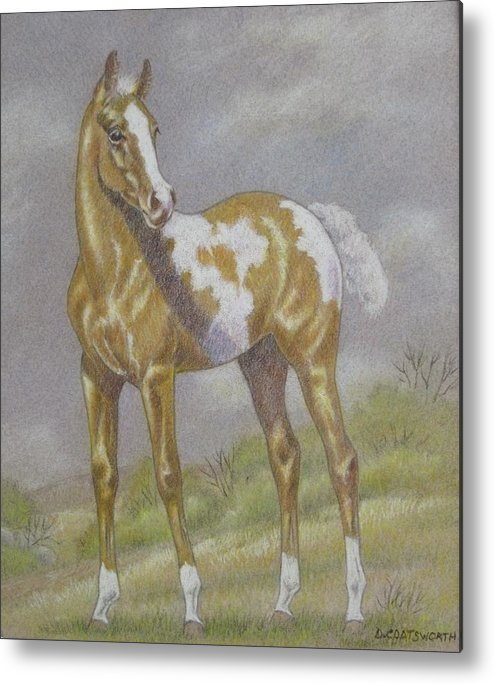 Paint Foal Metal Print featuring the pastel Palomino Paint Foal by Dorothy Coatsworth