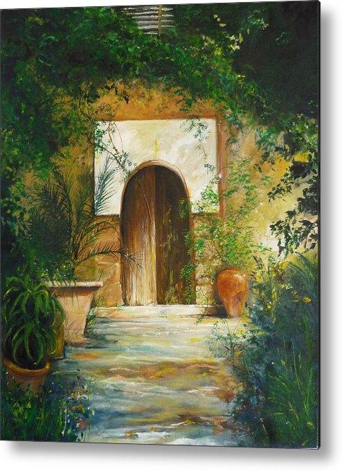 Farmhouse Courtyard Metal Print featuring the painting Patio Mallorquin by Lizzy Forrester