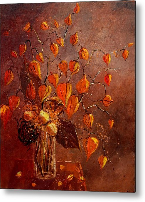 Poppies Metal Print featuring the painting Physialis by Pol Ledent