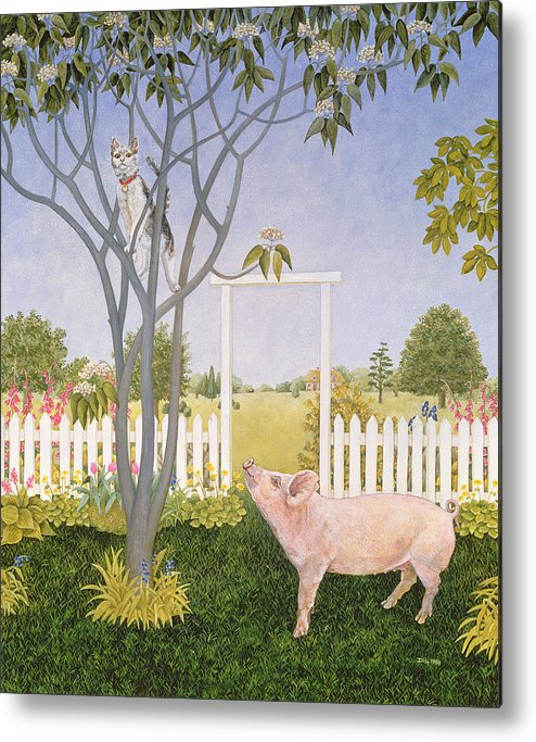 Pig Metal Print featuring the painting Pig And Cat by Ditz