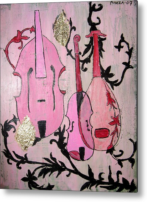 Baroque Metal Print featuring the painting Pink Baroque by Aliza Souleyeva-Alexander