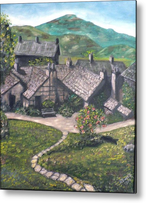 Pastoral Cottages Metal Print featuring the painting Poet by Dan Bozich