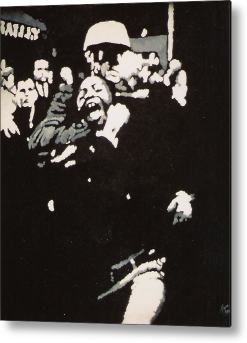 Civil Rights Metal Print featuring the painting Protestor Yells To The Photographer During An Arrest 1968 by Lauren Luna
