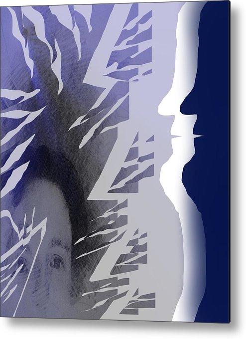 Mirror Metal Print featuring the painting Purple Dream by Sezer Akdeniz