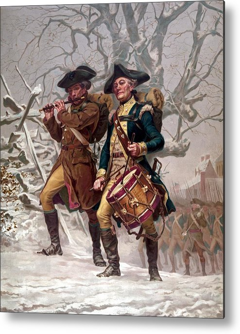 Minutemen Metal Print featuring the painting Revolutionary War Soldiers Marching by War Is Hell Store
