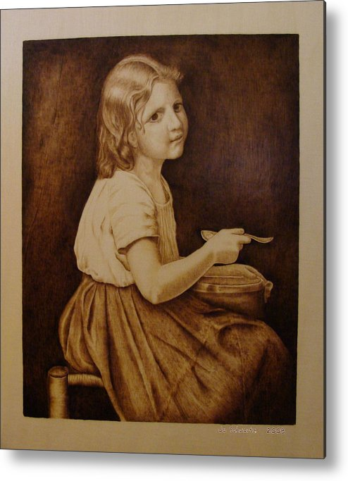 Portrait; Soup; Stool; Spoon; Sepia; Skirt; Metal Print featuring the pyrography Soup by Jo Schwartz