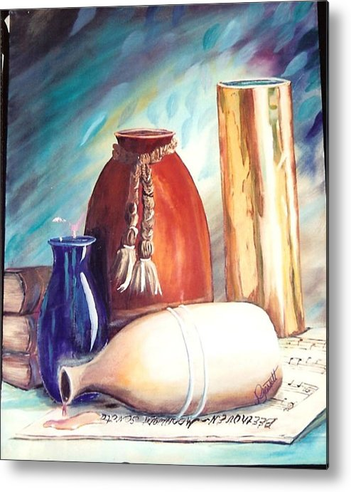 Vase Metal Print featuring the painting Spill Over Beethoven by Joan Gossett