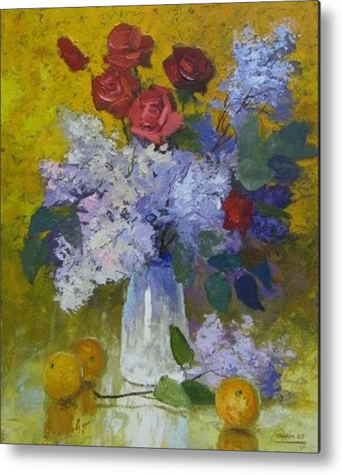 Still Life Metal Print featuring the painting Spring Bouquet by Netka Dimoska