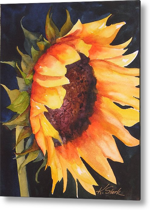 Floral Metal Print featuring the painting Sunflower by Karen Stark