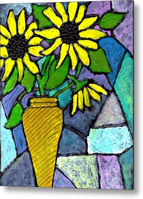 Flowers Metal Print featuring the painting Sunflowers In A Vase by Wayne Potrafka