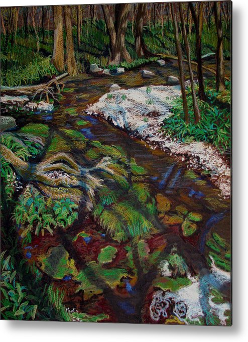 Swamp Metal Print featuring the painting Swamp Moss Shadows by Art Nomad Sandra Hansen