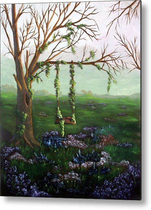 Flowers Metal Print featuring the painting Swingin' With The Flowers by Dawn Blair