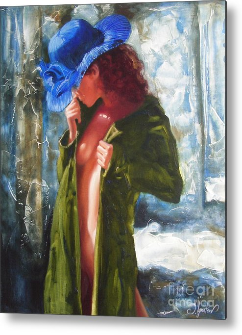 Art Metal Print featuring the painting The Blue Hat by Sergey Ignatenko