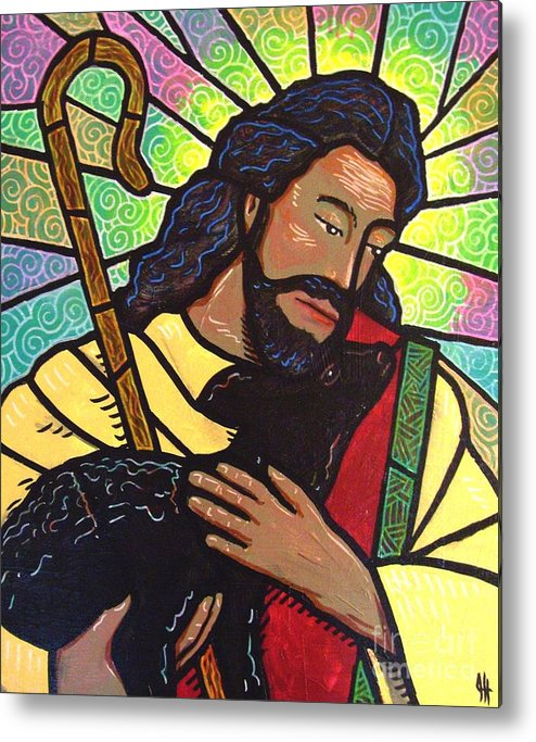 Jesus Metal Print featuring the painting The Good Shepherd - Practice Painting Two by Jim Harris