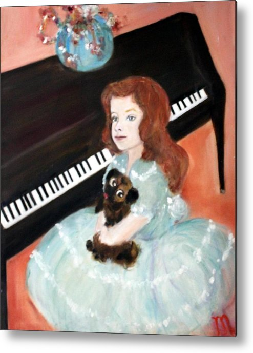 Piano Metal Print featuring the painting The Pianist And Her Pekinese by Michela Akers