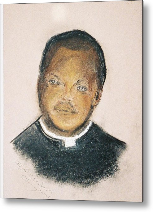 Portrait Of Roman Catholic Father Mushi Zanzabar Africa Metal Print featuring the painting The Roman Catholic Priest From Zanzibar by Alfred P Verhoeven