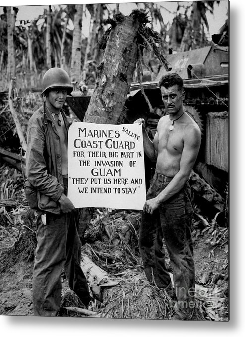 Vertical Metal Print featuring the photograph The U.s. Marines Salute The U.s. Coast by Stocktrek Images