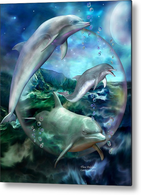 Dolphin Metal Print featuring the mixed media Three Dolphins by Carol Cavalaris