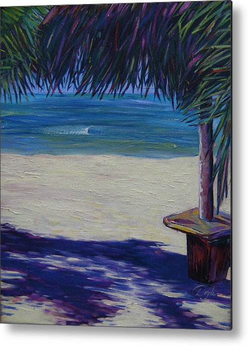 Ocean Metal Print featuring the painting Tropical Beach Shadows by Karen Doyle