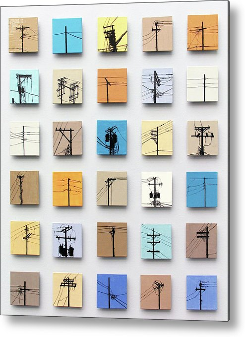 Tile Metal Print featuring the relief Urban Sentinels by Jason Messinger