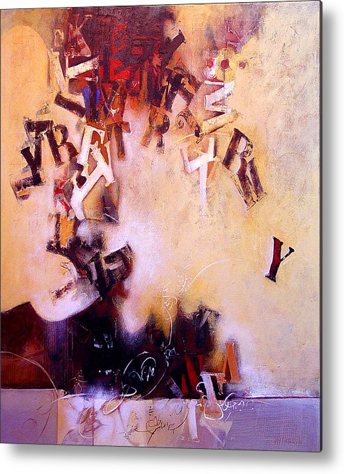 Text Metal Print featuring the painting Volcano Poet by Dale Witherow