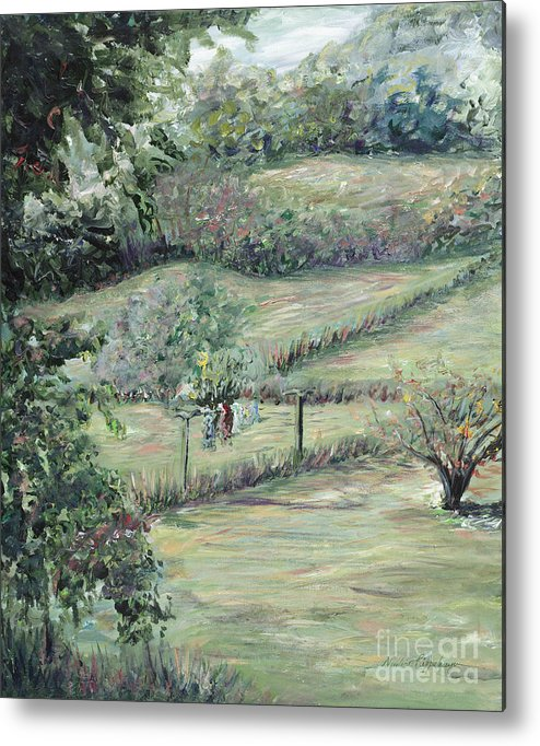 Landscape Metal Print featuring the painting Washday In Provence by Nadine Rippelmeyer