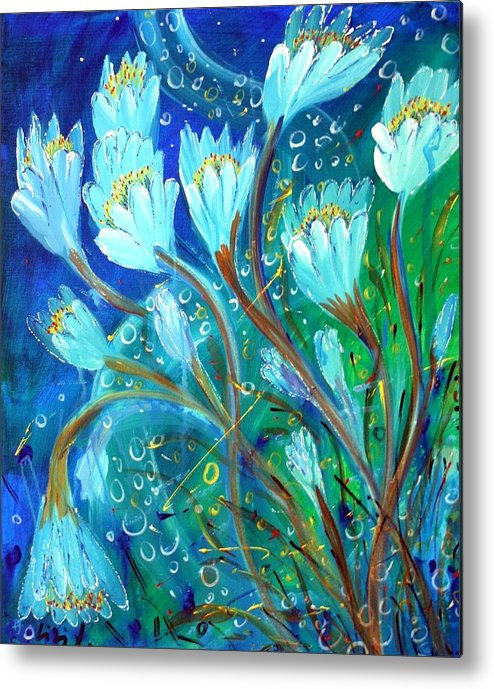 Flowers Metal Print featuring the painting Water Flowers by Luiza Vizoli