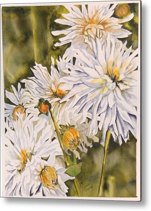 White Metal Print featuring the painting White Dahlias by Diane Ziemski