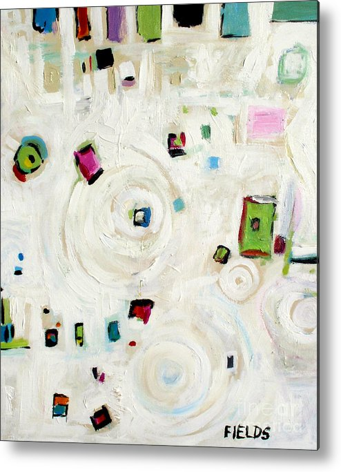 White Metal Print featuring the painting White On White Abstract by Karen Fields