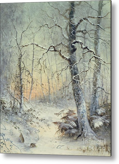 Winter Metal Print featuring the painting Winter Breakfast by Joseph Farquharson