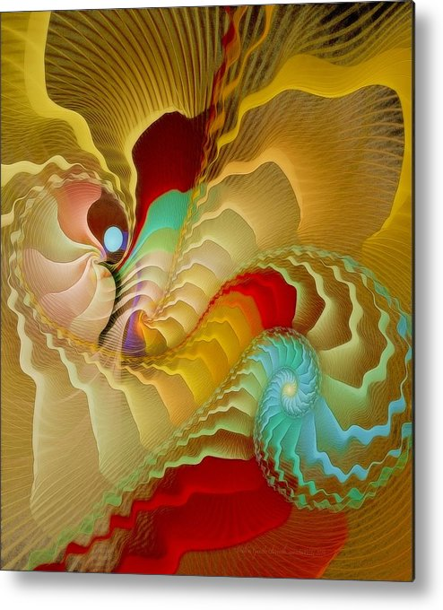 Fractal Metal Print featuring the digital art With A Gentle Breath by Gayle Odsather