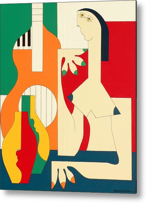 Women Music Modern Green Orange Bleu Gitar Metal Print featuring the painting Women And Music by Hildegarde Handsaeme