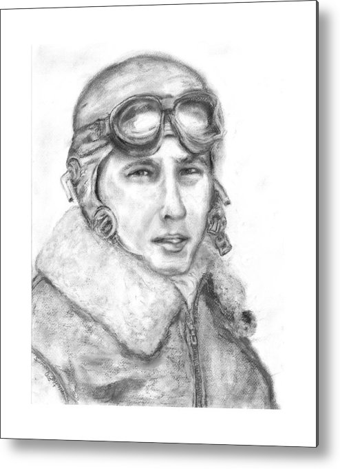 Portrait Of A World War Ii Metal Print featuring the painting Wwii B17 Gunner by Suzanne Reynolds