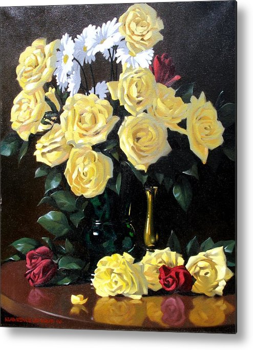 Roses Metal Print featuring the painting Yellow Roses by Kevin Lawrence Leveque