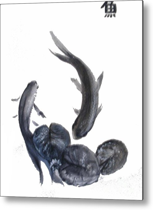 Fish Metal Print featuring the painting Yin And Yang by Sibby S
