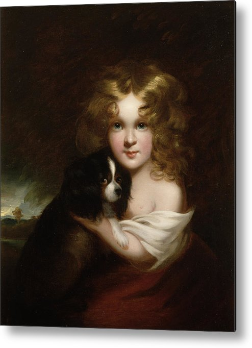 Young Metal Print featuring the painting Young Girl With A Dog by Margaret Sarah Carpenter