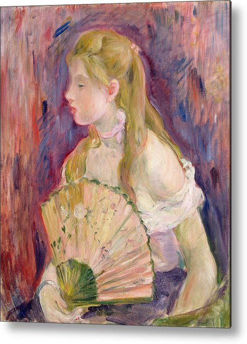 Young Metal Print featuring the painting Young Girl With A Fan by Berthe Morisot