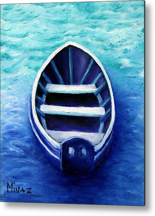 Boat Metal Print featuring the painting Zen Boat by Minaz Jantz