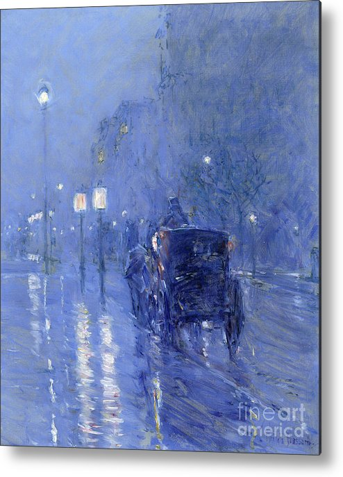 Street Lamp Metal Print featuring the painting Rainy Midnight, Late 1890s by Childe Hassam