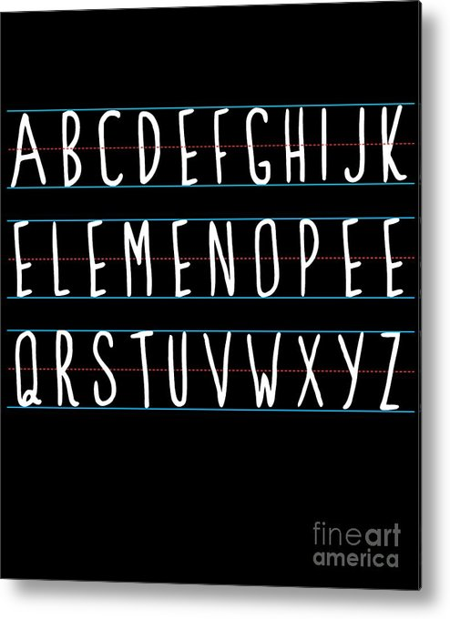 Cool Metal Print featuring the digital art Alphabet Elemeno by Flippin Sweet Gear