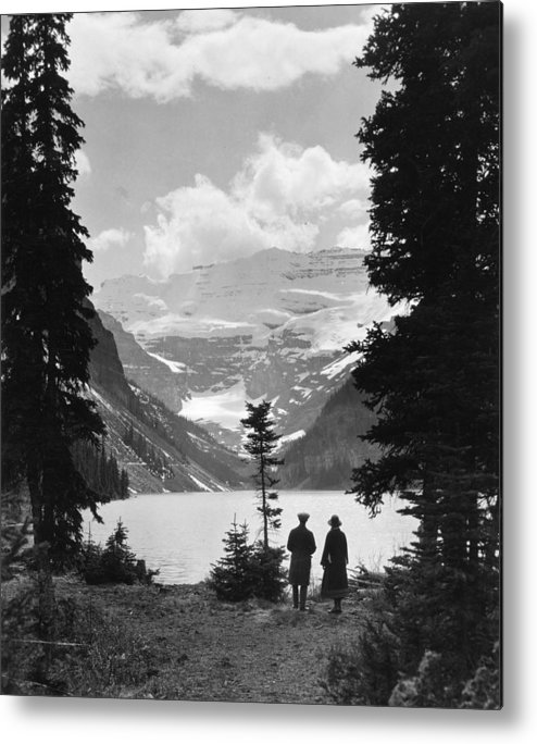 Heterosexual Couple Metal Print featuring the photograph Lake Louise by Fox Photos