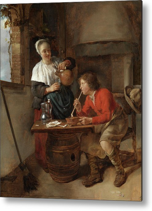 Gabriel Metsu Metal Print featuring the painting Young Man Smoking And A Woman Pouring Beer by Gabriel Metsu