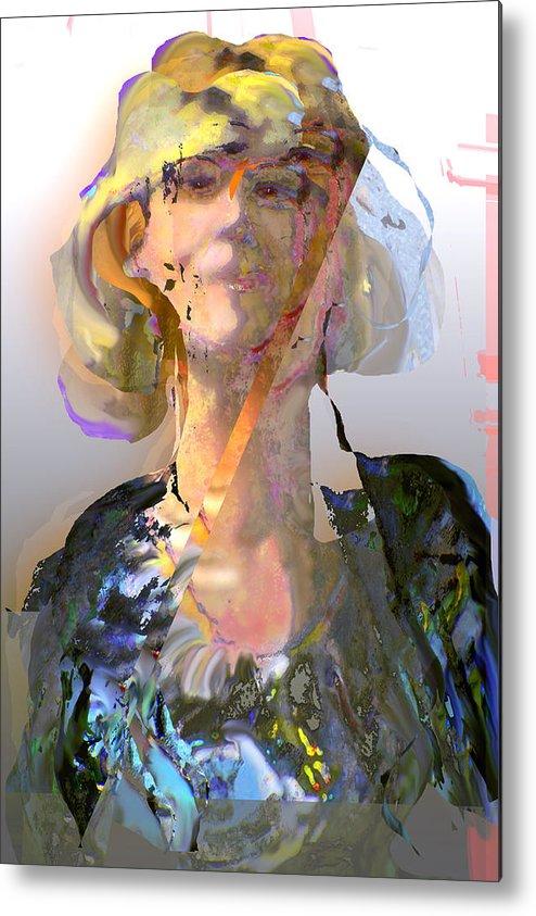 Portrait Metal Print featuring the mixed media Olga by Noredin Morgan