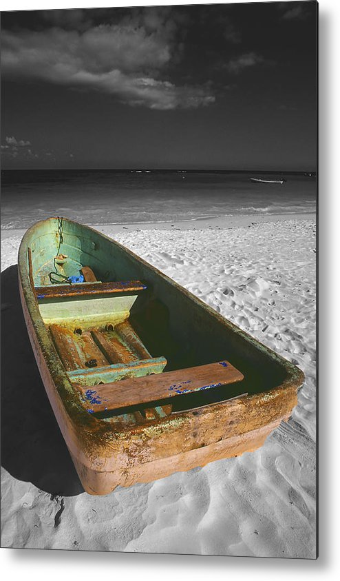 Photography Metal Print featuring the photograph Green Paddle Boat Playa Del Carmen by Tom Fant