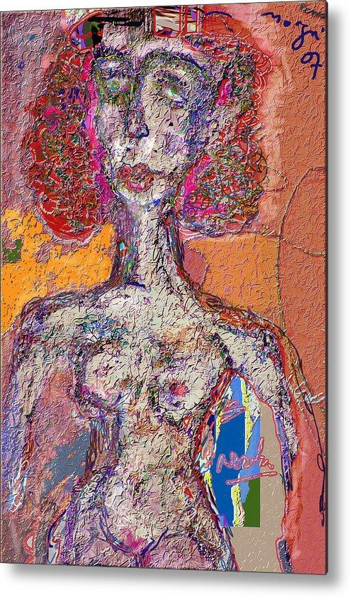 Nude Metal Print featuring the mixed media Rashida by Noredin Morgan