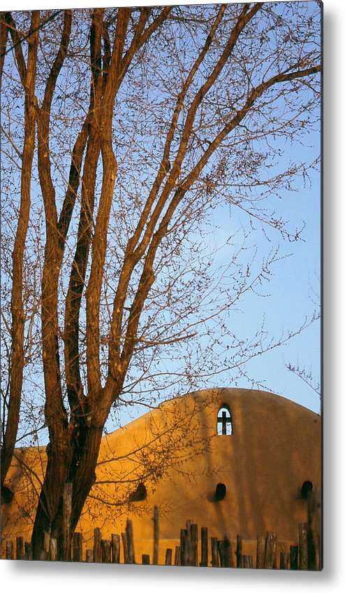San Francisco De Taos Church With Cross And Trees Metal Print featuring the photograph The Cross by Lynard Stroud