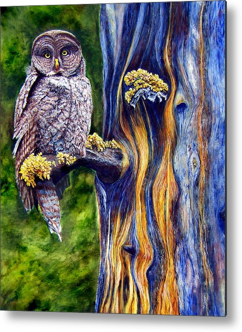 Great Hray Owl In Tree Metal Print featuring the painting Hoo's Look'n by JoLyn Holladay