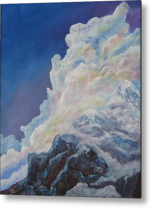 Landscape Metal Print featuring the painting Moutain In The Clouds by Thomas Restifo