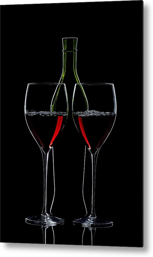 Wine Metal Print featuring the photograph Red Wine Bottle And Wineglasses Silhouette by Alex Sukonkin