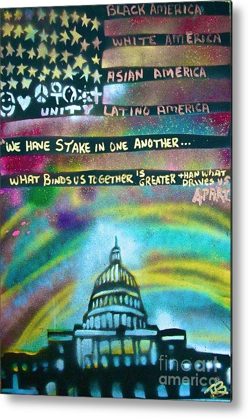 Barack Obama Metal Print featuring the painting American Rainbow by Tony B Conscious